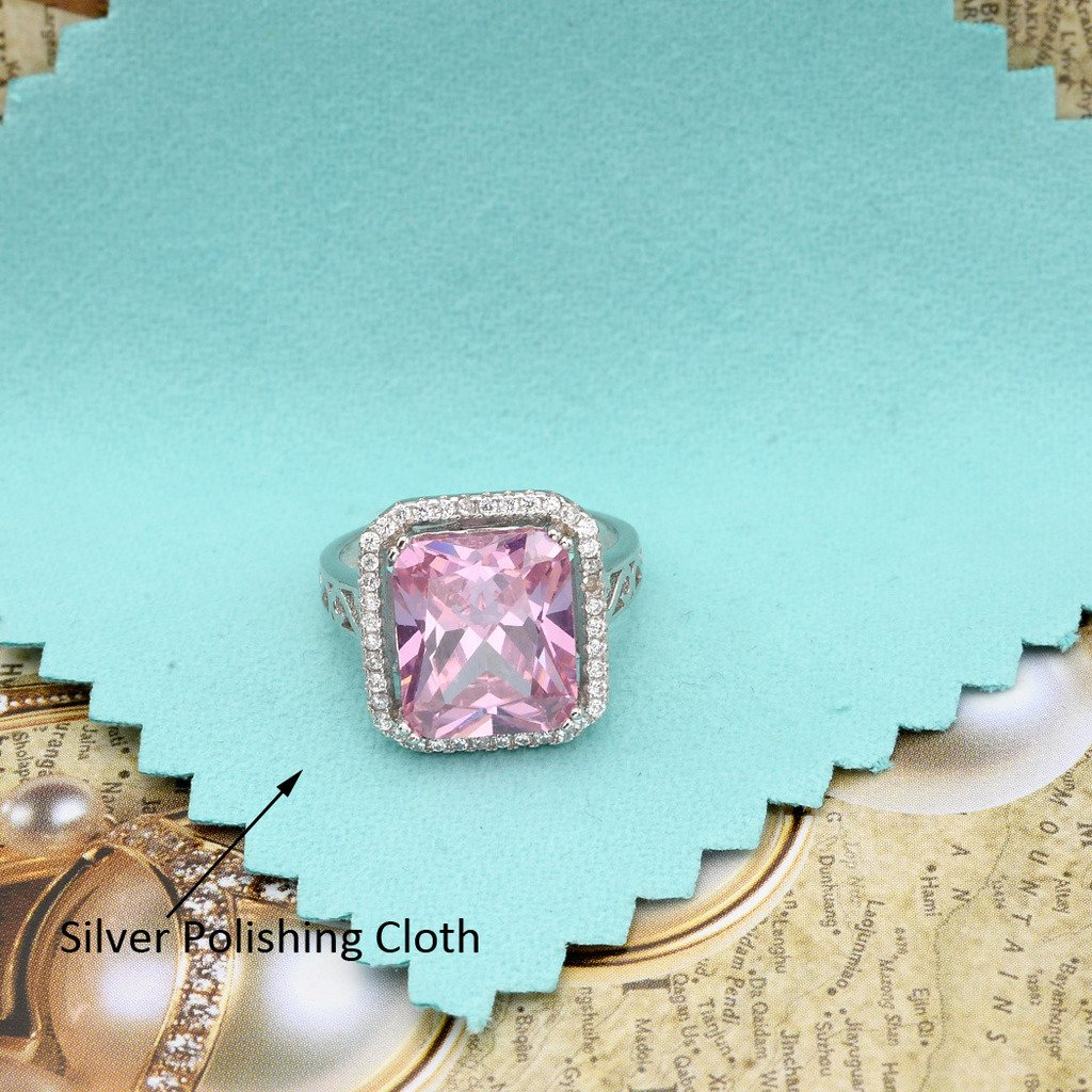 EVER FAITH Womens 925 Sterling Silver 5 Carats Radiant Cut CZ Elegant Ring Pink