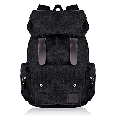 c1ca334ed7 Vbiger Canvas Backpack for Women   Girls Boys Casual Book Bag Sports  Daypack (Black)  Amazon.co.uk  Clothing