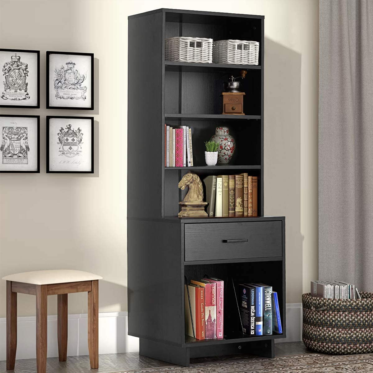 MELLCOM Wooden Bookcase Storage Cabinet Bookshelf with 1 Drawer and 3 Shelves, Modern Standing Shelf, Side Corner Storage Cabinet Decor Furniture for Home Office Black