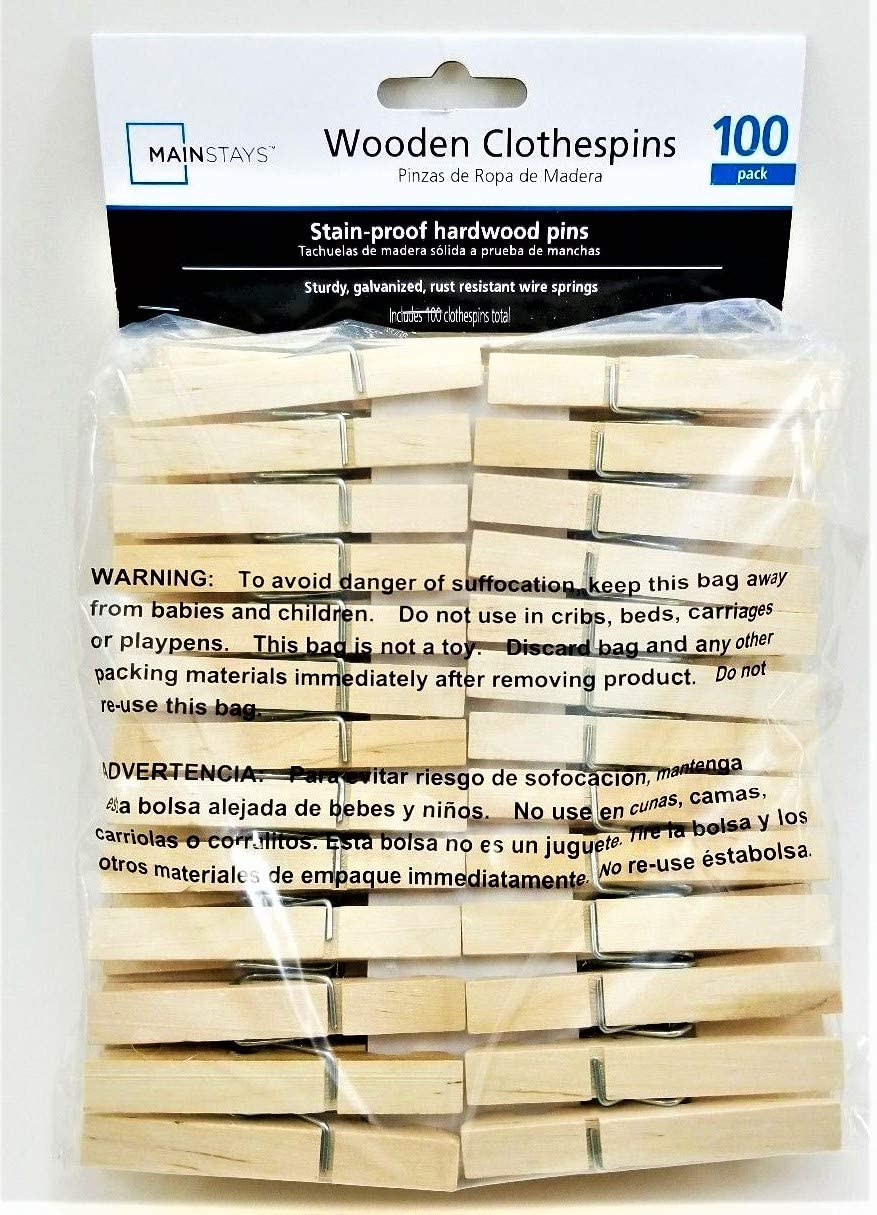 Mainstay Standard Wooden Clothespins - 100-count