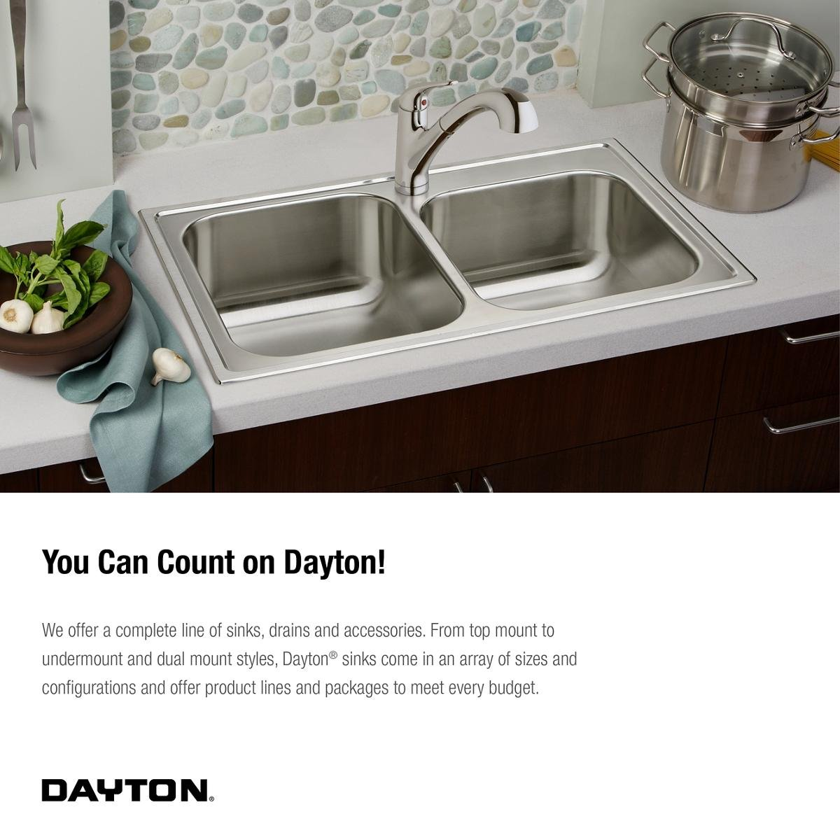 Kitchen Sink Drain Configurations Dayton d233193 equal double bowl top mount stainless steel sink dayton d233193 equal double bowl top mount stainless steel sink amazon workwithnaturefo