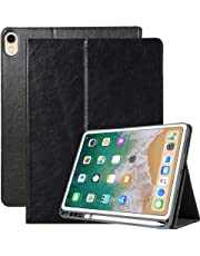 A-BEAUTY iPad Pro 11 inch 2018 case with Pencil Holder/Hand Strap, High Quality PU Leather [TPU Honeycomb] Wallet Stand with Auto Sleep/Wake for Apple iPad Pro 11 inch (2018 Release), Black