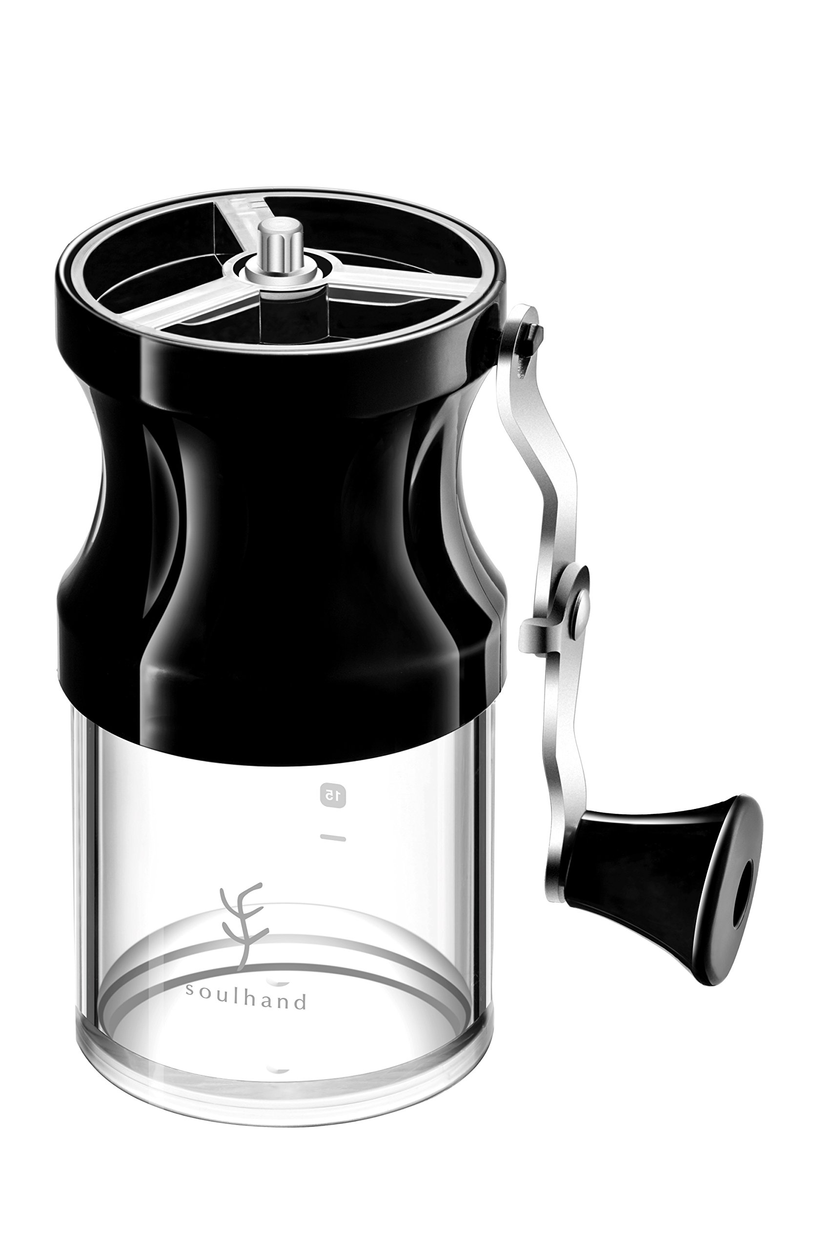 Soulhand Manual Coffee Grinder, Portable Coffee Bean Mill, 9 Adjustable Settings Conical Ceramic Burrs Foldaway Hand Crank with Cleaning Brush