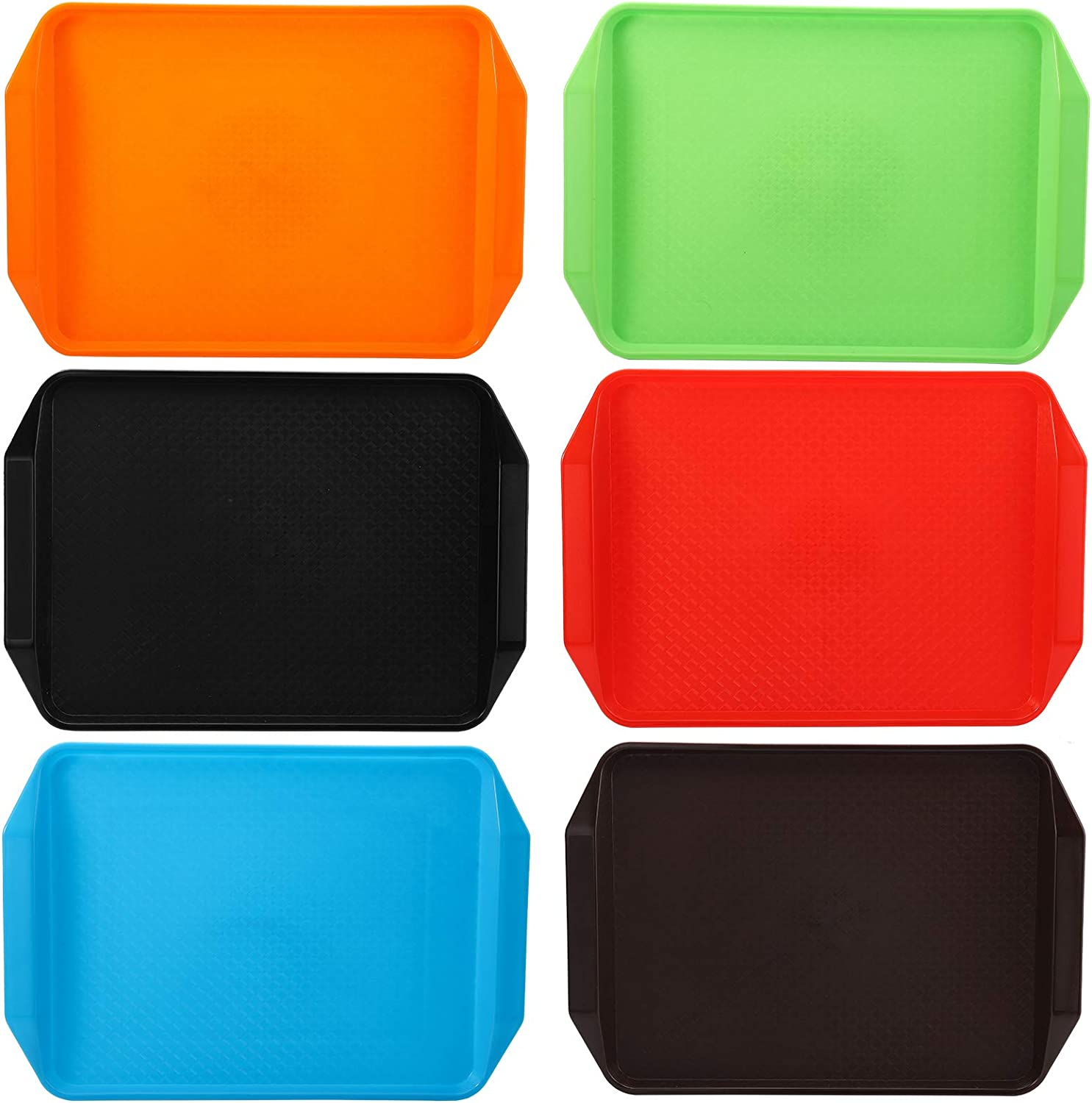 Cedilis 6 Pack Plastic Fast Food Trays for Eating, Assorted Colors, 17IN x 11.8IN