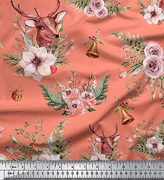 Soimoi Naranja batista de algodon Tela ciervos y fresia floral tela estampada de 1 metro 42 Pulgadas de ancho: Amazon.es: Hogar