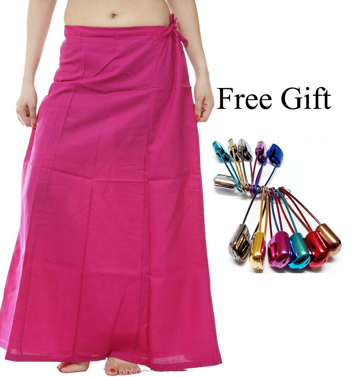 Odishabazaar Women Saree Petticoat Cotton Underskirt Lining For Sari + Free Sari Pin (Hot Pink)