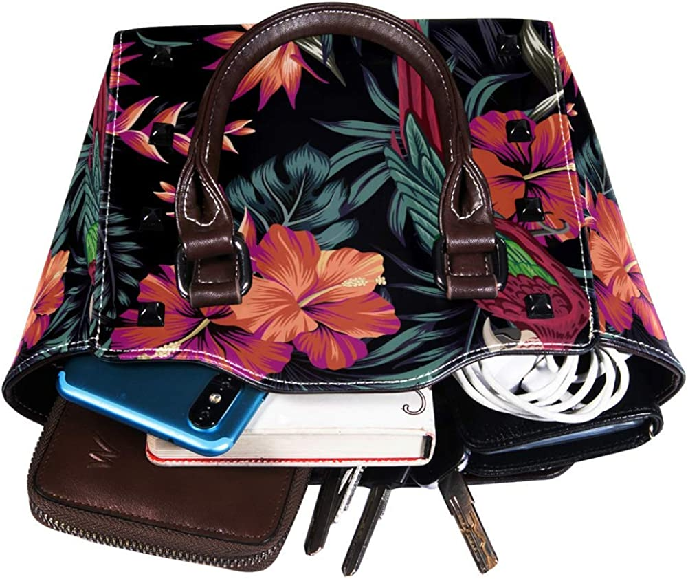 Women handbag Soft PU Leather Fashion Rivet bag Handbag with Shoulder Strap Crossbody Bag Tropical retro Macaw Hibiscus palm leaf flower seamless pattern