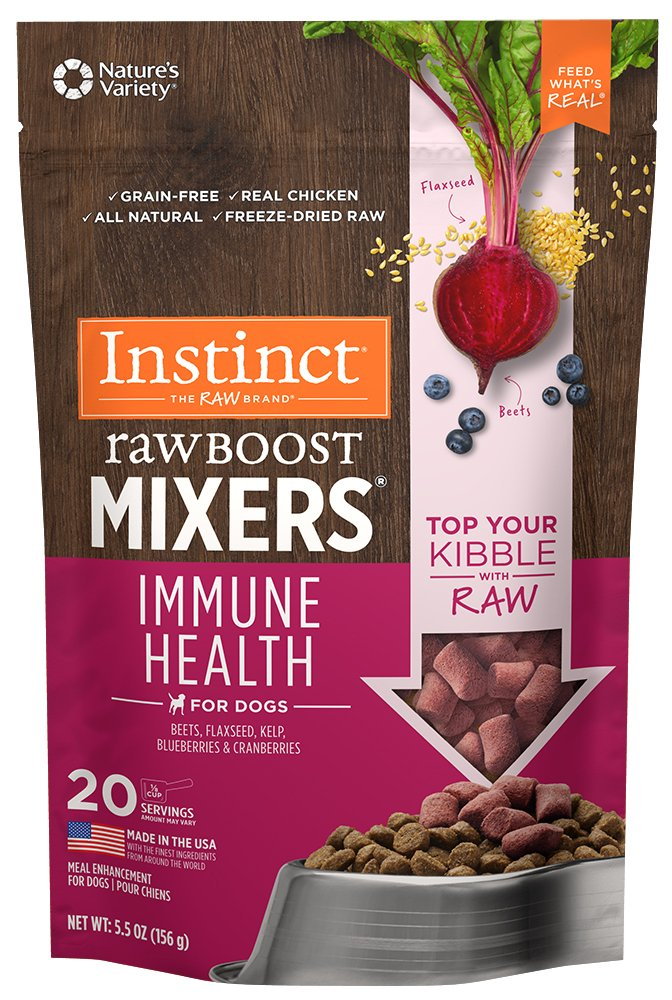 Instinct Freeze Dried Raw Boost Mixers Immune Health Grain Free All Natural Dog Food Topper by Nature's Variety, 5.5 oz. Bag