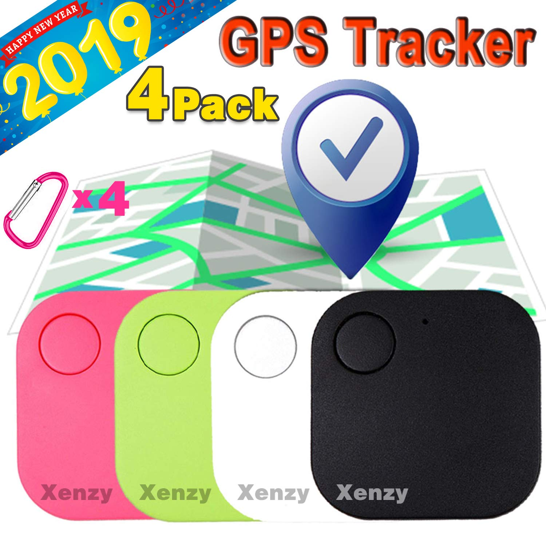 Square Anti Lost Wallet Phone Finder Pet Dog Cat Kids Luggage Tracker Sensor Device for Keychain Mini Alarm Wireless Seeker Selfie Remote Shutter Locator 4 Pack Smart Key Finder Locator GPS Tracker