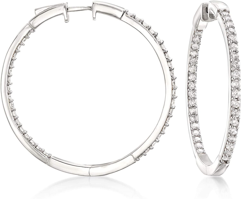 Ross-Simons 2.00 ct. t.w. Diamond Inside-Outside Hoops Earrings in Sterling Silver