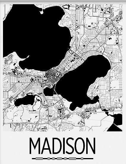 Amazon.com: I Like Maps - Madison, WI Black & White Art Deco City ...