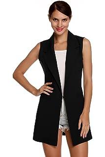 Gilet Donna Fashion Casual Autunno Lunga Mode di Marca Cappotto Business Smanicato Eleganti Ufficio Blazer Giacca Donna Gilet Puro Colore