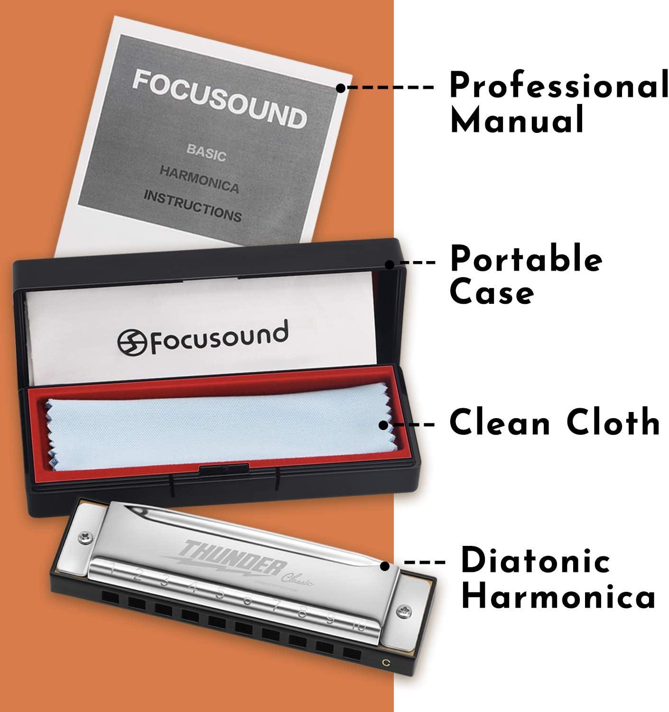Diatonic Key of C Focusound Thunder Harmonica for Beginners