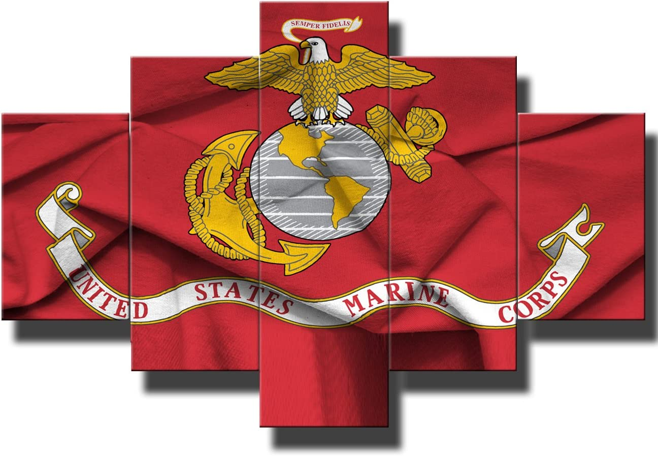 Red Wall Decor Military Posters and Prints on Canvas Pictures of Flag of Marine Corps Signs Art for Living Room 5 Pcs Paintings Modern Artwork Giclee Wooden Framed Stretched Ready to Hang(60''Wx40''H)