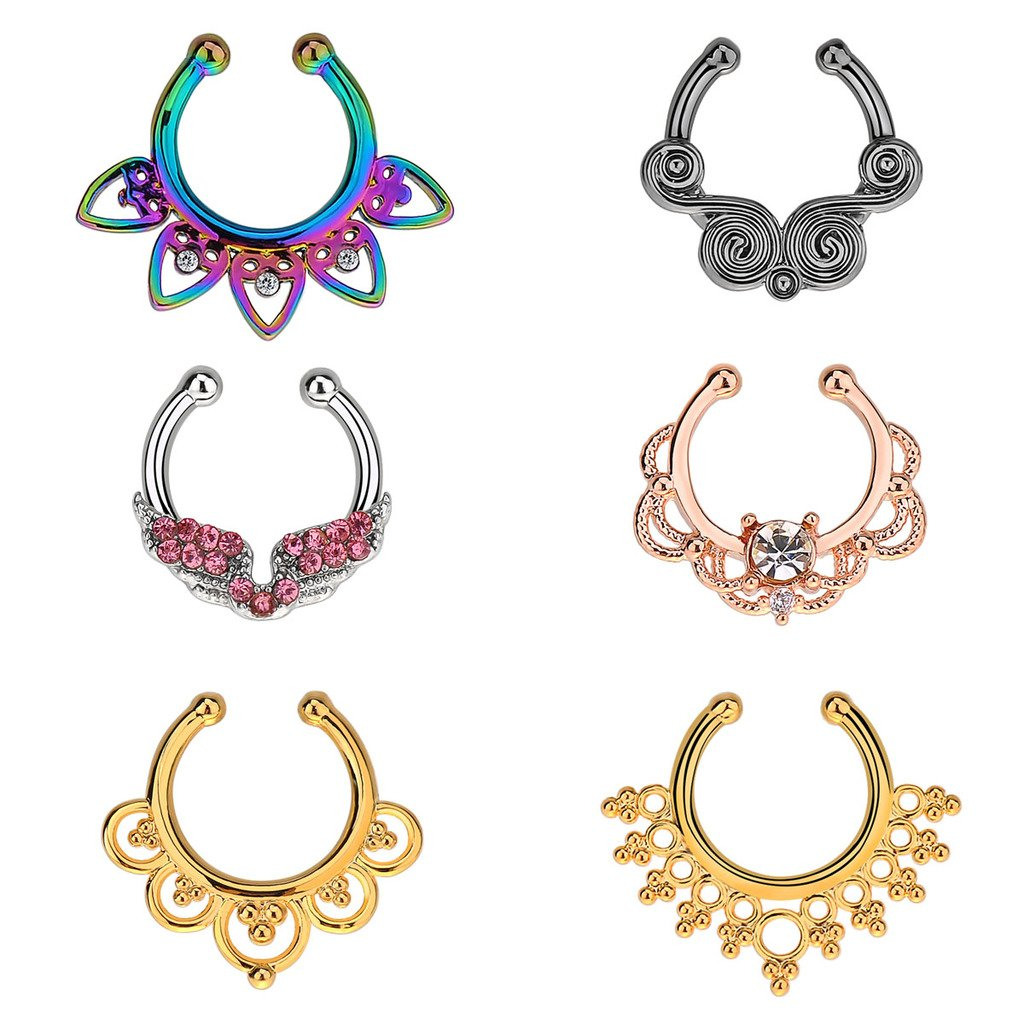 IPINK Fake Septum Clicker Crystal Nose Hoop Ring Non Piercing Clip on Jewelry Pack of 6 Zuhe004