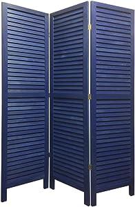 Benjara 3 Panel Foldable Wooden Shutter Screen with Straight Legs, Blue
