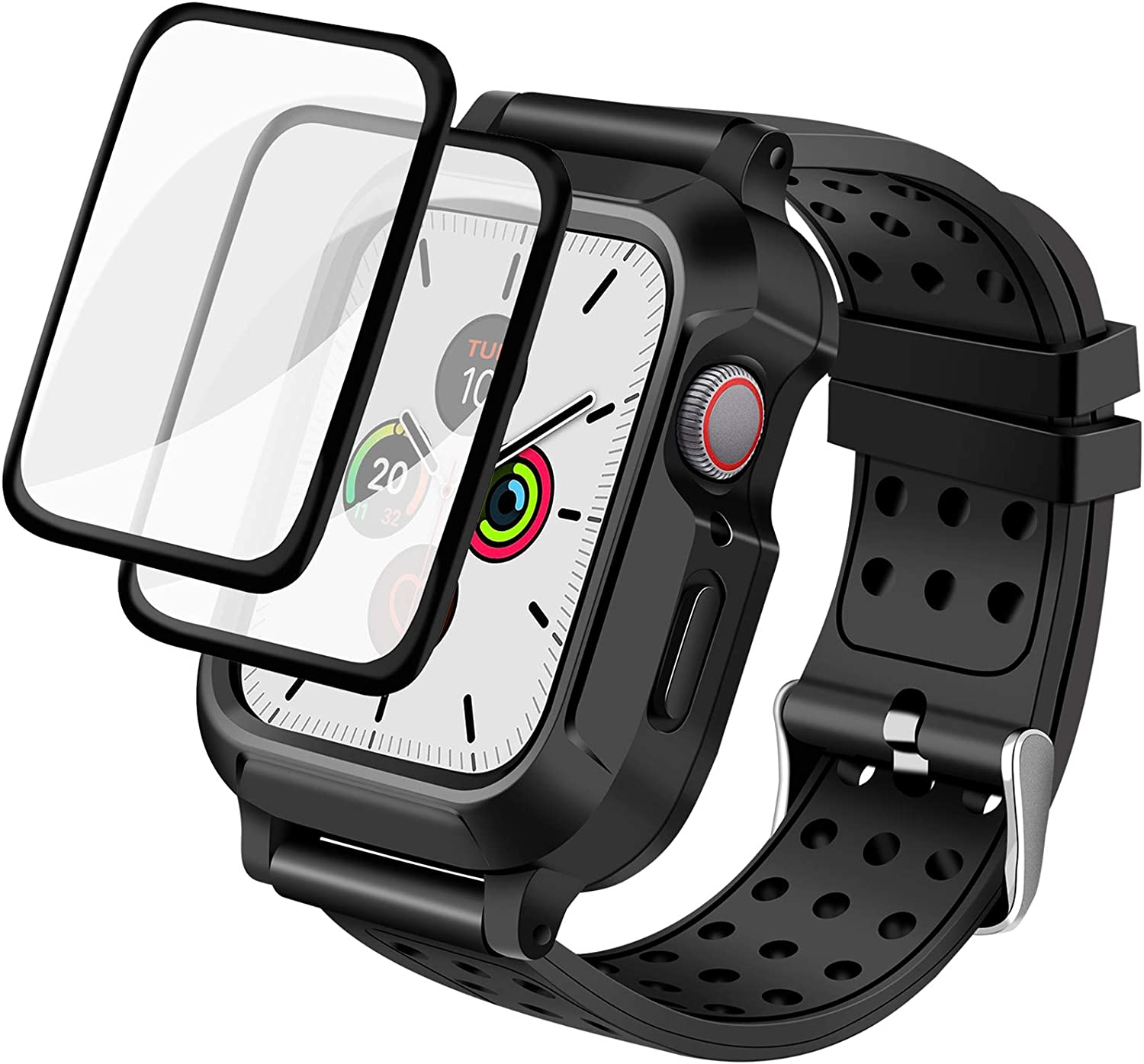 ADDSMILE Compatible for Apple Watch Case 44MM Series 6/SE/5/4, Rugged Protective Case with Soft Silicone Band and Anti-Scratch Screen Protector, Shockproof Dropproof Case Designed for iWatch 44mm