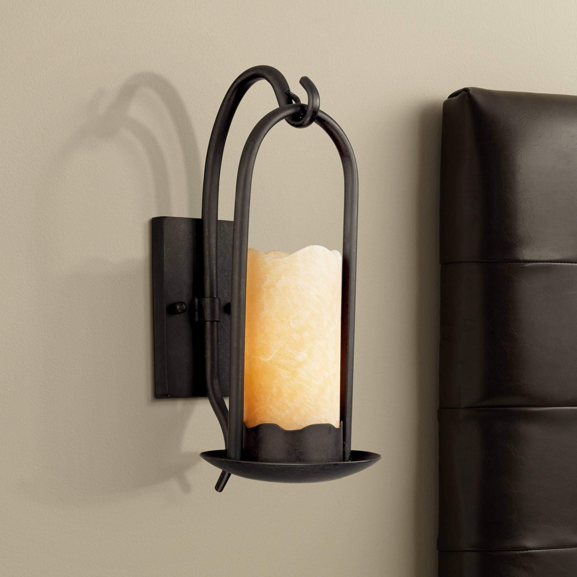 Hanging Onyx Rustic Country Cottage Wall Light Sconce Hardwired 14 1/2'' High Fixture Faux Candle for Bedroom Bathroom Hallway - Franklin Iron Works