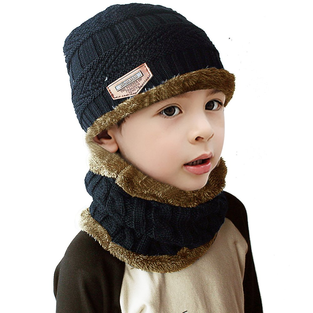 JUSTIME Child Knitted Hat and Circle Scarf Skiing Hat Outdoor Sports Hat Sets (Navy Blue)