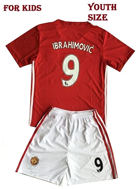 best loved 7503d c339d Ibrahimovic Manchester United Jersey Set for Boys & Girls, Man U Superstar  # 9 Ibrahimovic RED Soccer Jersey. Football T Shirt and Shorts for Kids. ...