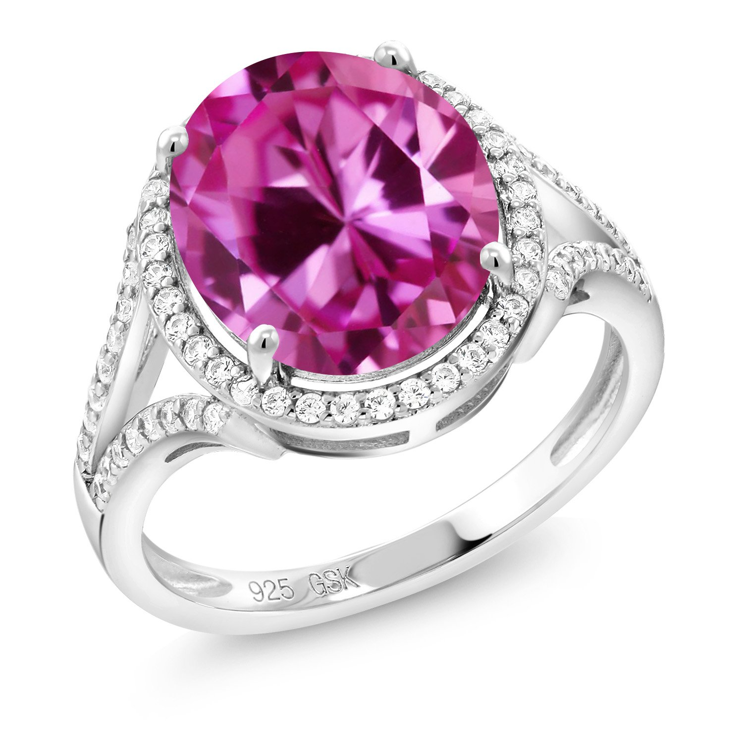 Gem Stone King Sterling Silver Pink Created Sapphire Women's Ring (6.82 Ct Oval 12X10MM Available 5,6,7,8,9)