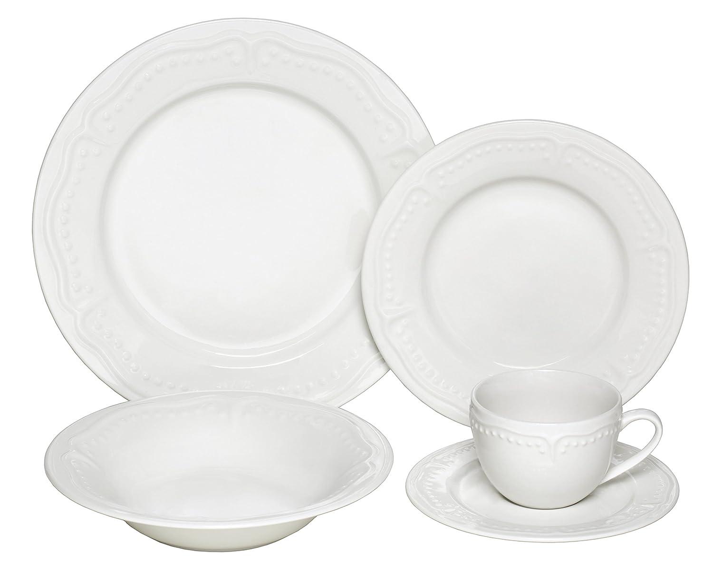 Melange 40 Piece Cascades Premium Dinnerware Place Setting, Ivory 710228915665_OB