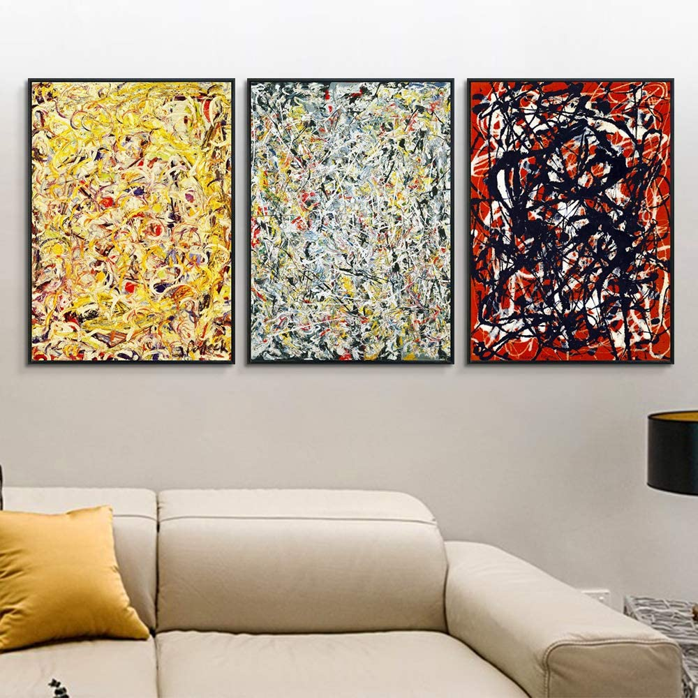 Amazon Com Invin Art Framed Canvas Giclee Print Art Combo Painting 3 Pieces By Jackson Pollock Wall Art Series 1 Living Room Home Office Decorations Black Slim Frame 24 X32 Each Piece Posters Prints