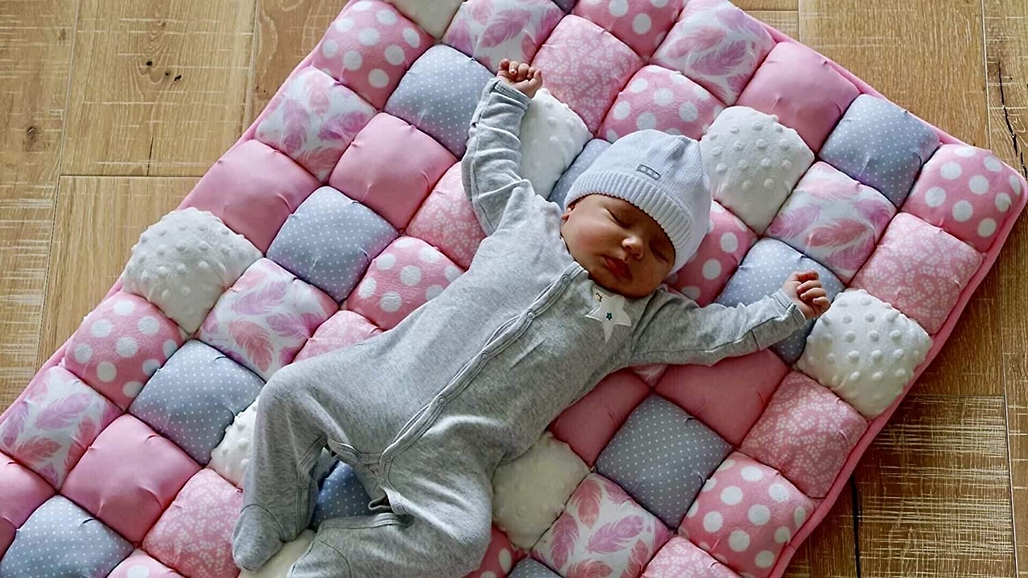 Puff Quilt Plush Baby Mat by Little Fawn Co – Bubble Quilt for Lounging and Tummy Time Pink and Grey