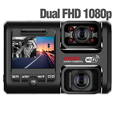 Pruveeo D30H Dash Cam with Infrared Night Vision and WiFi, Dual 1080P Front and Inside, Dash Camera for Cars Truck Taxi: Car Electronics [5Bkhe1403841]