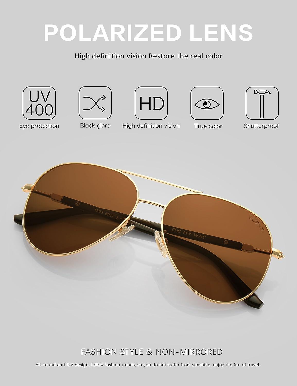 0823ed85762d LUENX Aviator Sunglasses Mens Womens Polarized Brown Plastic Lens Gold Metal  Frame Large 60mm at Amazon Men's Clothing store: