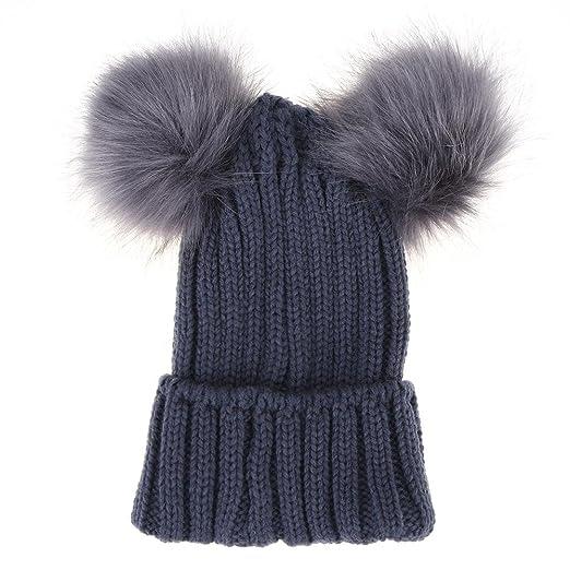 Diamondo Women Fur Pompom Hat Winter Caps Knitted Hats With Two Pom ... 2b41a5b30c