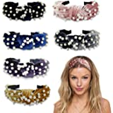 Pearl Headband for Women - 6 Pack Knot Headband with Pearls Wide Headbands Turban Velvet Pearl Headbands for Women and Girls