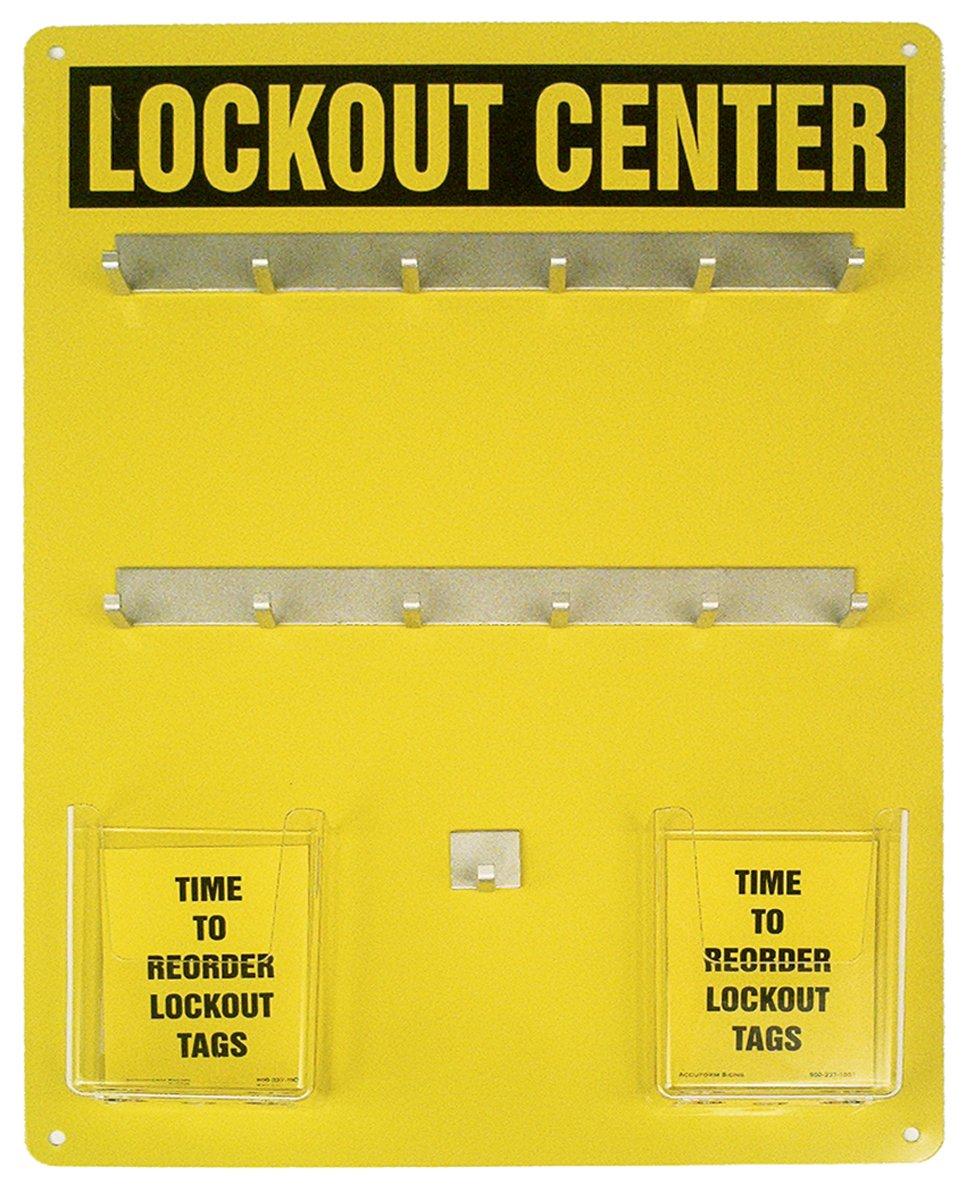Accuform KST412 Lockout Center Board, Legend''Lockout Center'', 20'' Length x 14'' Width, Aluminum, Black on Yellow