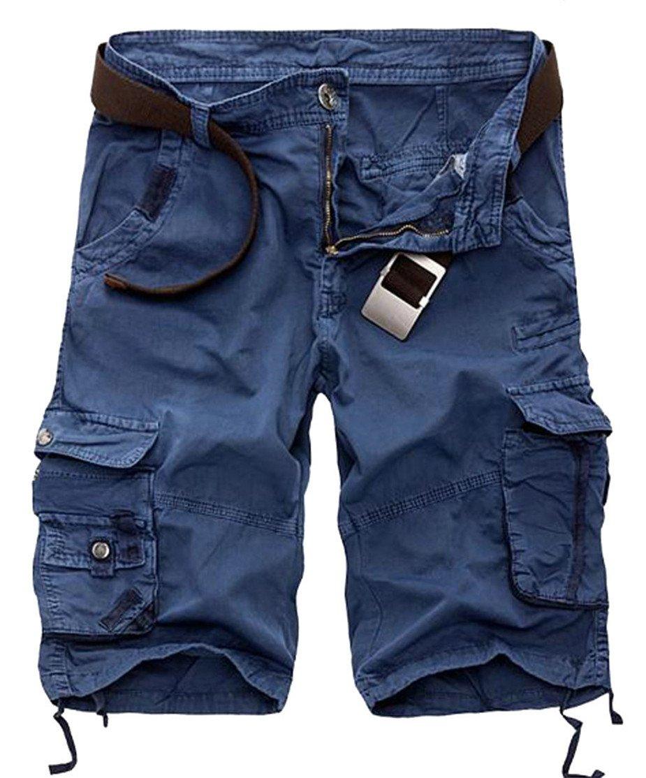 XiaoTianXin-men clothes XTX Men Bermuda Zip Cargo Multi Pocket Straight Plain Cargo Shorts Jewelry Blue 36