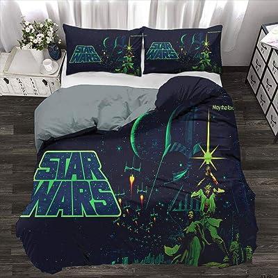 3 Pieces Complete Bedding Set Star Wars Duvet Cover Set 100% Polyester Microfiber Child Duvet Cover, Full Size: Home & Kitchen