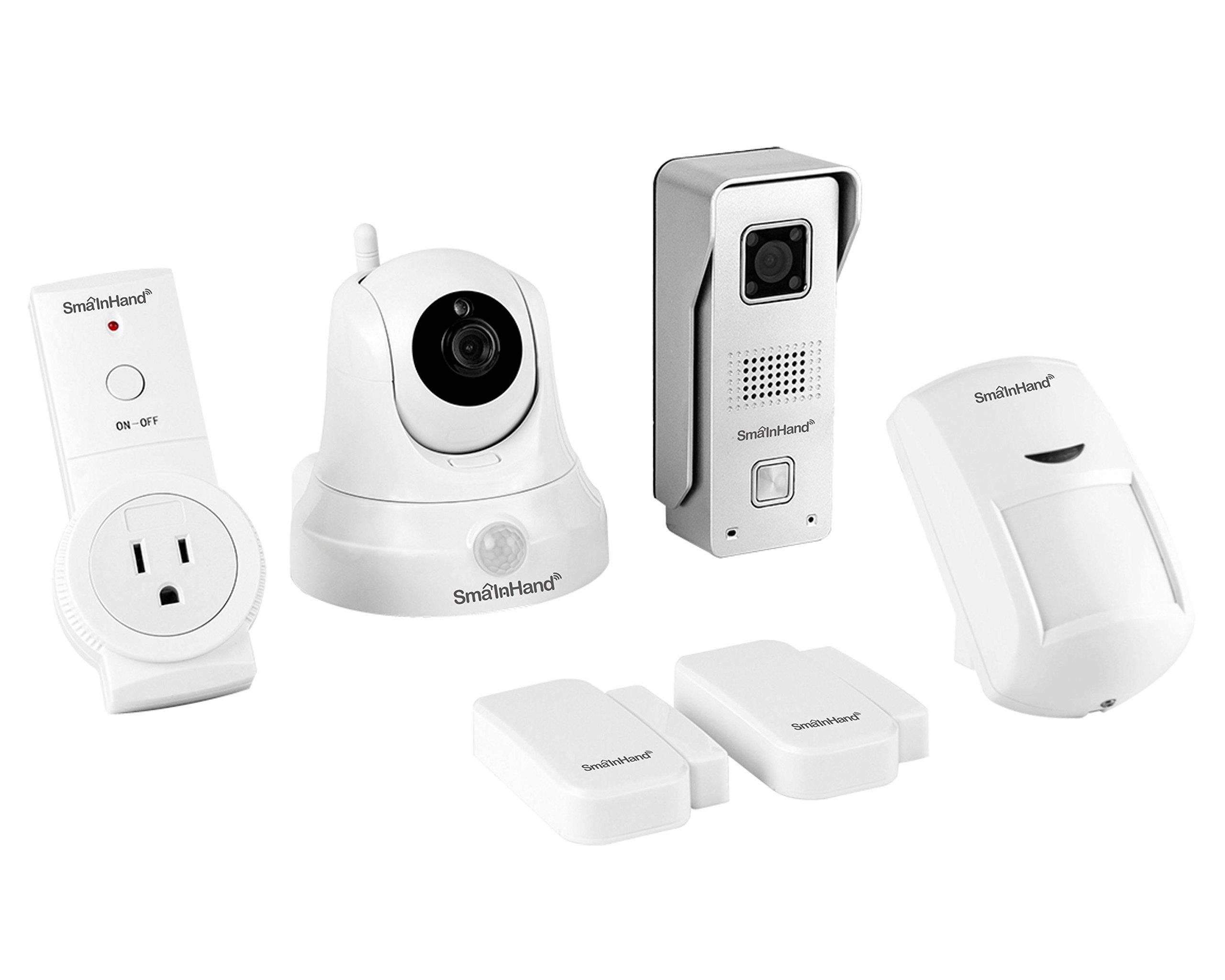 SmaInHand 4Smart Preferred Package, Intercom,Home Automation and Alarm, 1 WiFi Camera, 1 Wifi Doorbell, 1 Wireless Socket, 1 Motion Sensor and 2 Door/Window Sensor for USA