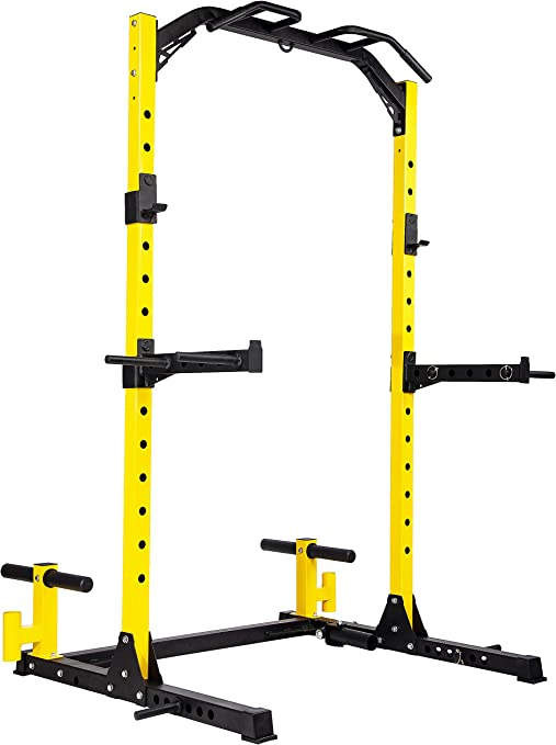 HulkFit Multi-Function Adjustable Power Rack Exercise Squat Stand with J-Hooks and Other Accessories,Multiple Versions