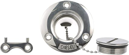 Stainless Steel Replacement Cap /& Chain For Boat Marine Fuel Water Gas Deck Fill