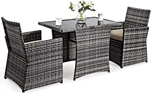 Tangkula 3-Piece Outdoor Dining Set, Space-Saving Rattan Bistro Set with Glass Top Coffee Table & 2 Cushioned Chairs, Patio Conversation Furniture Set for Garden, Lawn, Yard, Porch (Beige)