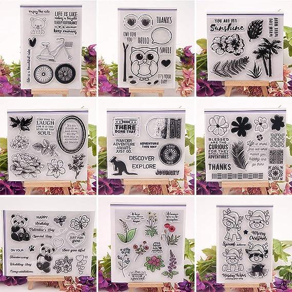Ogquaton Sello de Silicona Transparente Transparente de Flores para DIY Scrapbooking Photo Album Decor