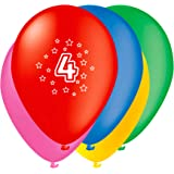 Unique Party Globos Perlados de Látex para Cumpleaños Número 4, Paquete de 5 30 cm 80204