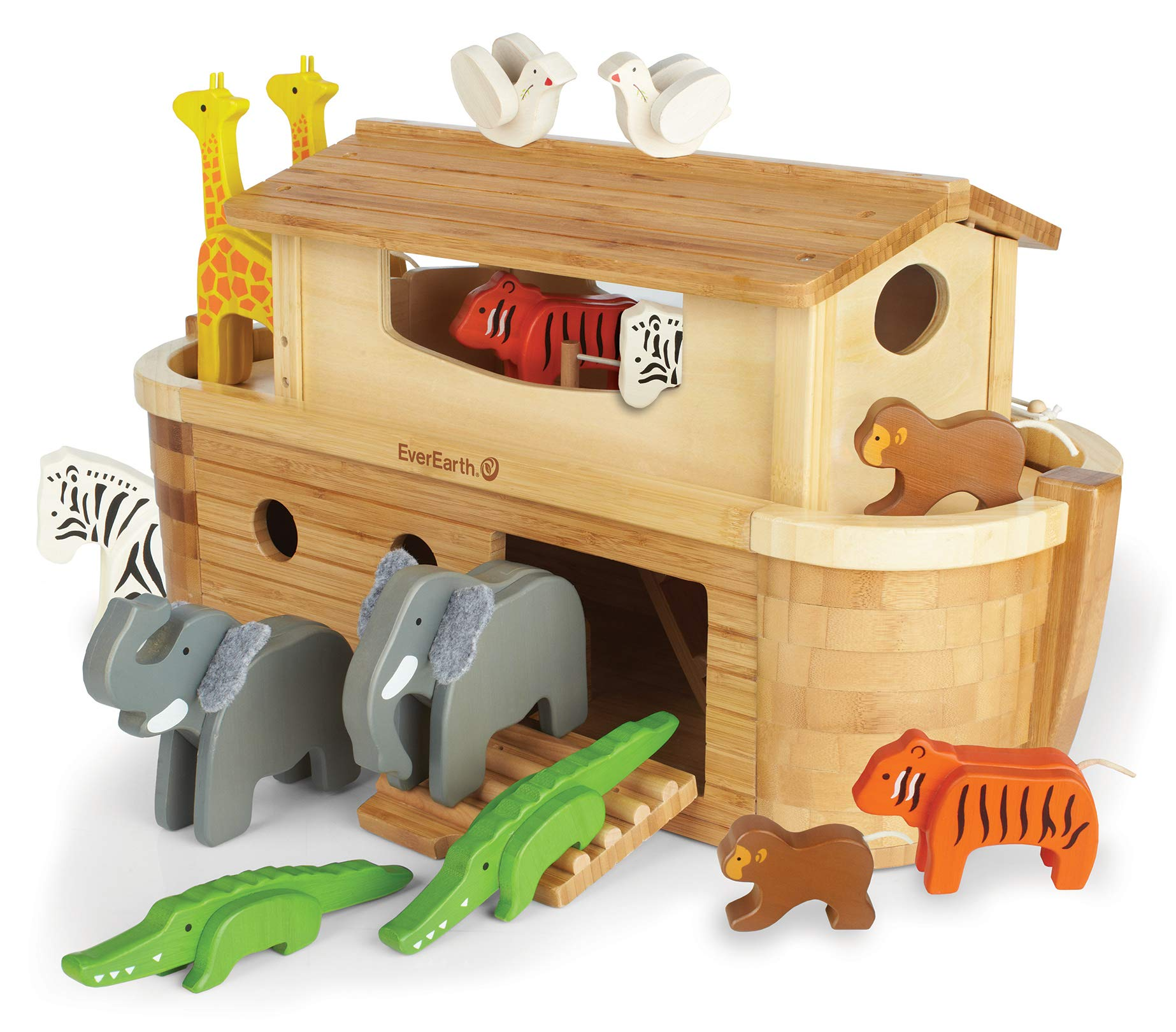 EverEarth EE33727 ''Giant Ark'' Playset with 14 Animals/Bamboo/Wood