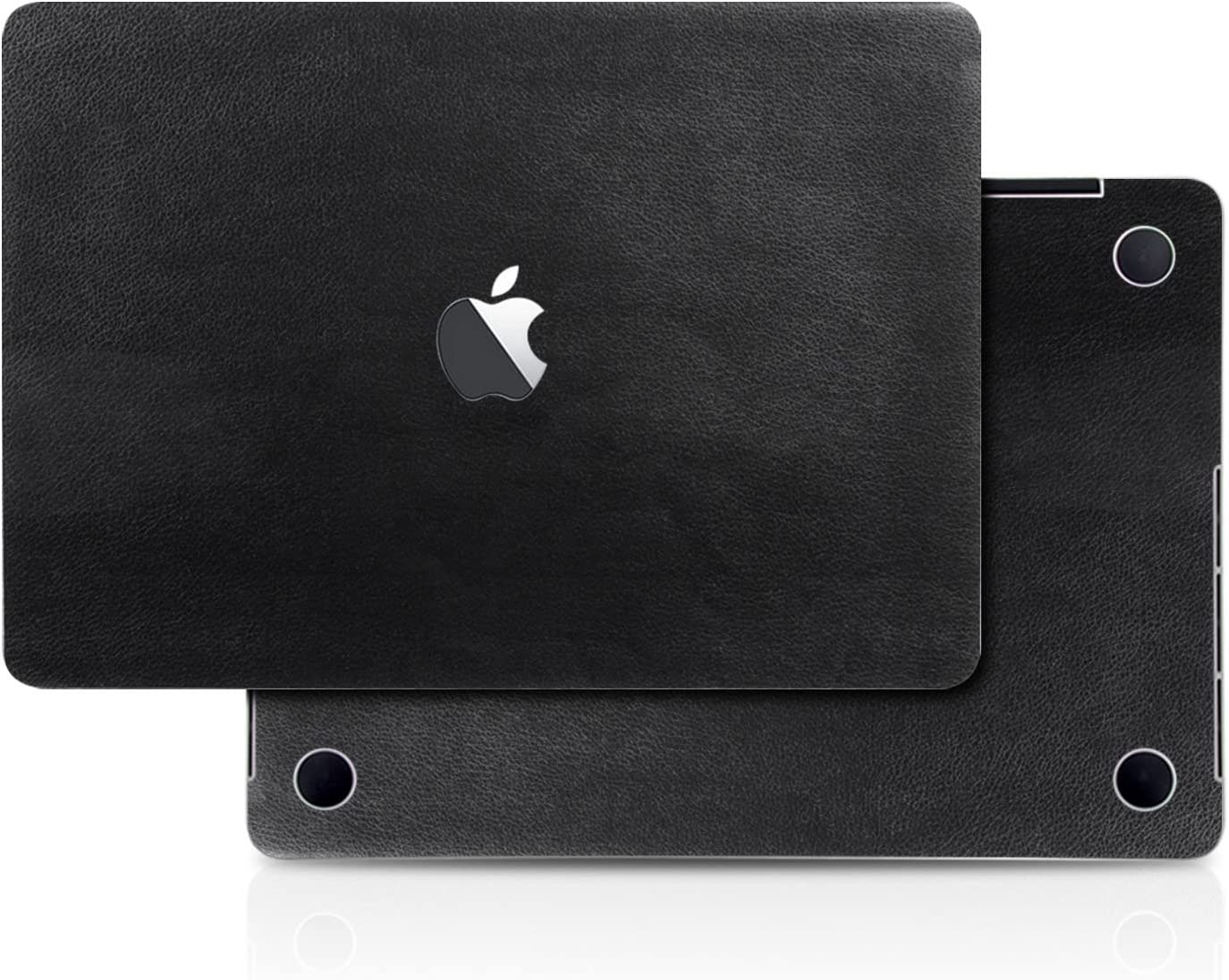 Black Leather Texture Skin Decal (4-in-1) Full-Size 360° Protector Cover Apple MacBook Pro 13 Inch A1706 A1708 A1989 (2016 to 2019 Model, with & w/o Touch Bar & ID) Black Keyboard Cover