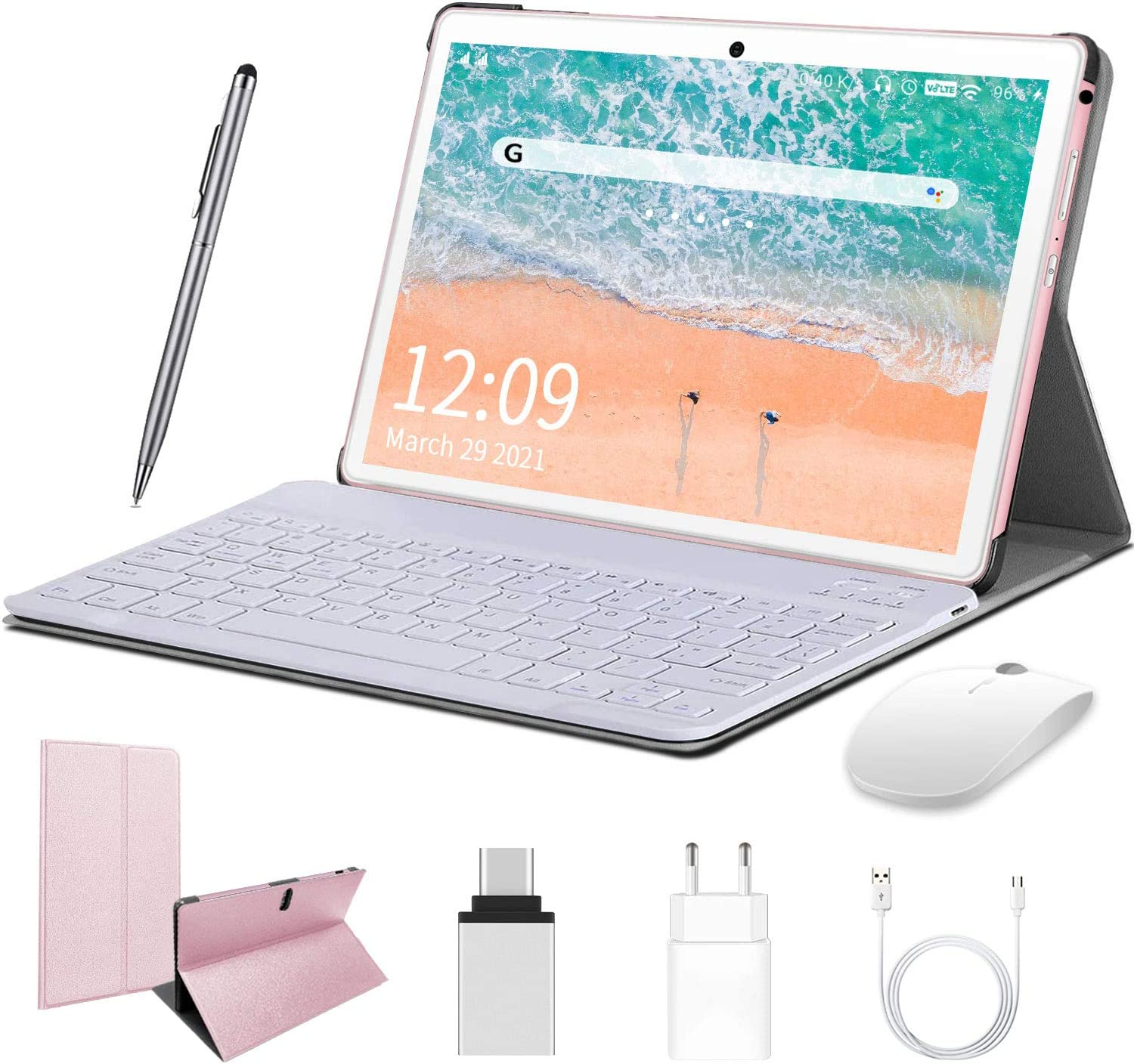Android Tablet 10 inch, HD Touchscreen 2-in-1 Tablet with Keyboard Case Computer Quad-Core 1.3Ghz Processor 4G+64GB Harddrive Android 9.0 GO Tablets, Support 3G Phone Call, Type-C,BT4.2 GPS FM 4G WiFi