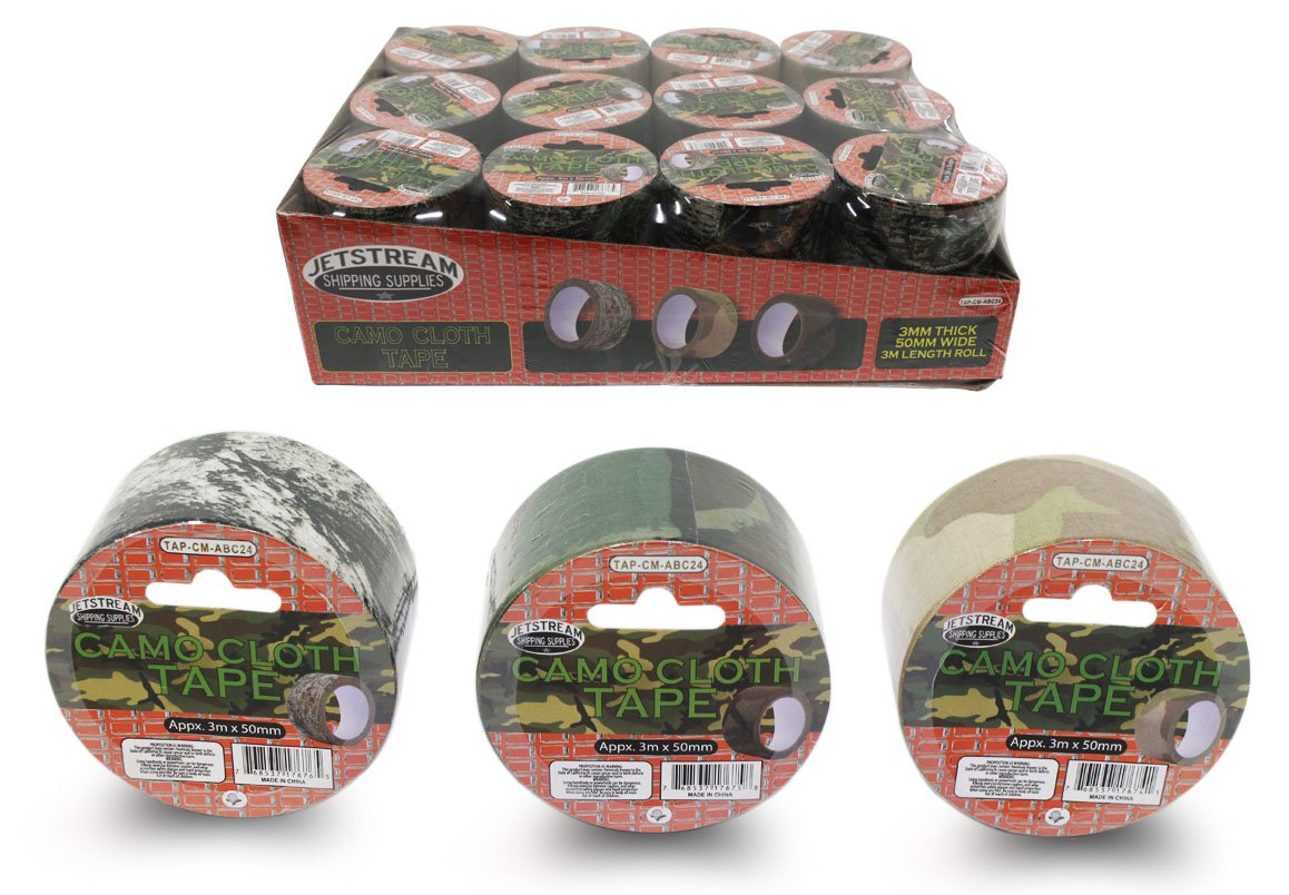 24 Piece Camouflage Cloth Tape - 3 Patterns - 9 Feet x 2 Inches