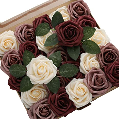 Burgundy DerBlue 60pcs Artificial Roses Flowers Real Looking Fake Roses Artificial Foam Roses Decoration DIY for Wedding Bouquets Centerpieces,Arrangements Party Baby Shower Home Decorations