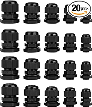 PG7 PG9 35 Pieces PG13.5 PG11 Plastic Waterproof Adjustable 3.5-13mm Cable Glands Joints PG16