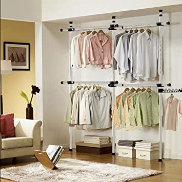 Asunflower Adjustable Clothing Hanger Free Standing Closet System Heavy  Duty Coat Rack, Ivory
