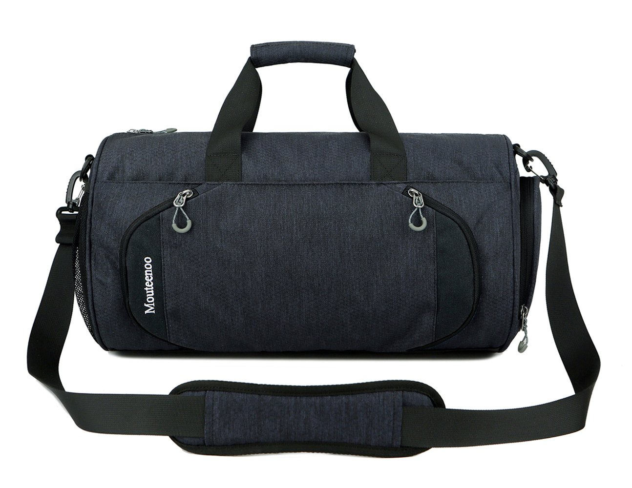 Gym Sports Small Duffel Bag for Men and Women with Shoes Compartment - Mouteenoo (X-Small, Black/Black)