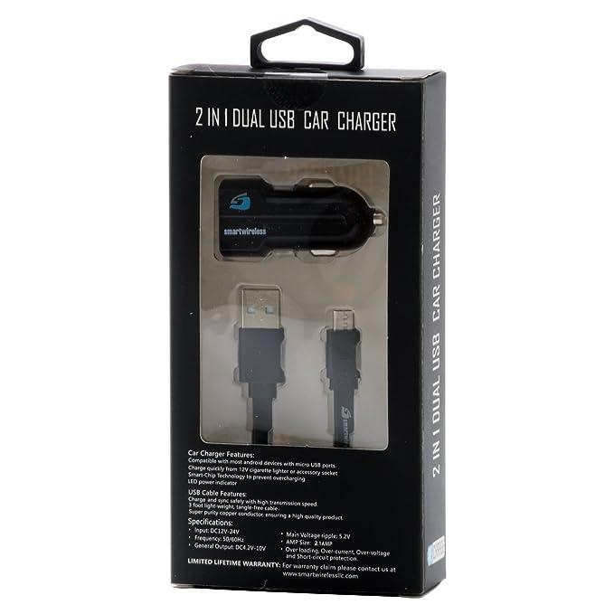 Micro 2n1 2.1 Amp Cargador de coche doble USB 3 ft: Amazon ...